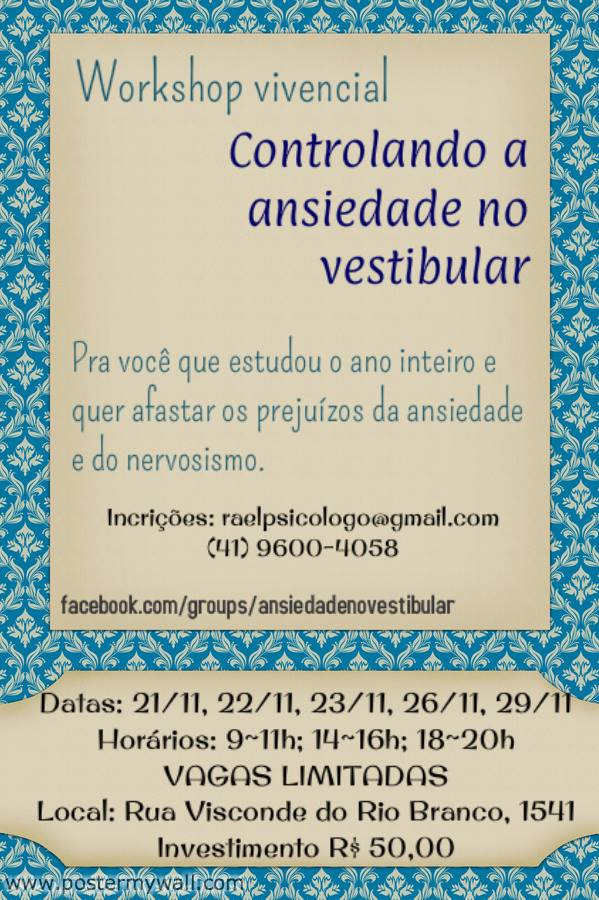 workshop controlando a ansiedade no vestibular