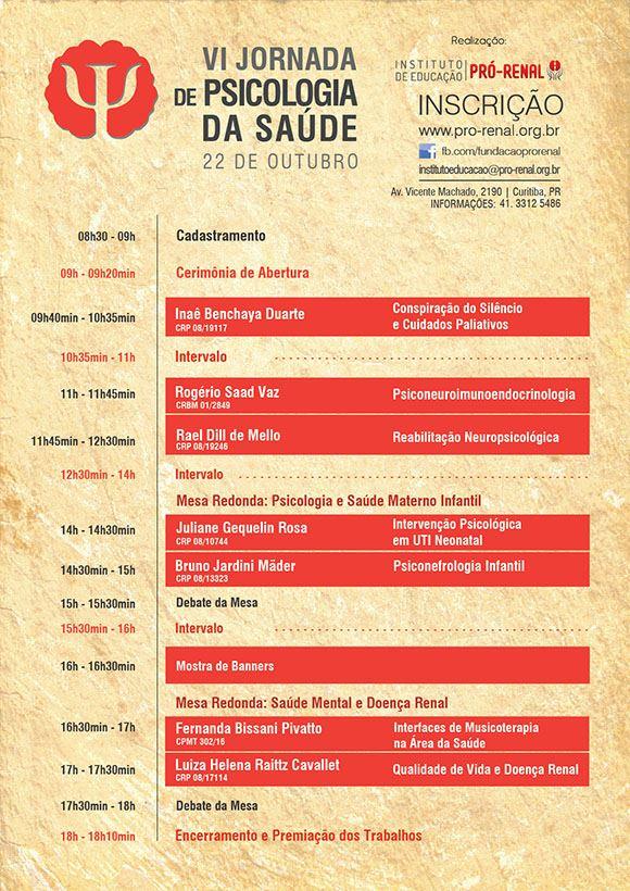 Cartaz - VI Jornada de Psicologia da Saúde